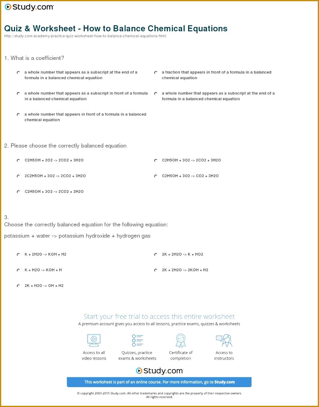 4 Balancing Chemical Equations Worksheet Answers