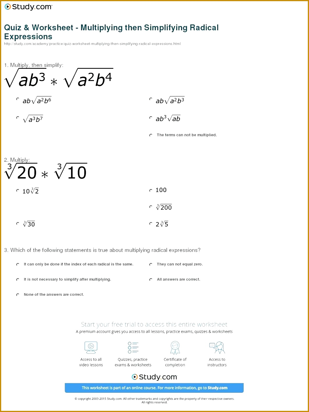 7 Combining Like Terms Worksheet