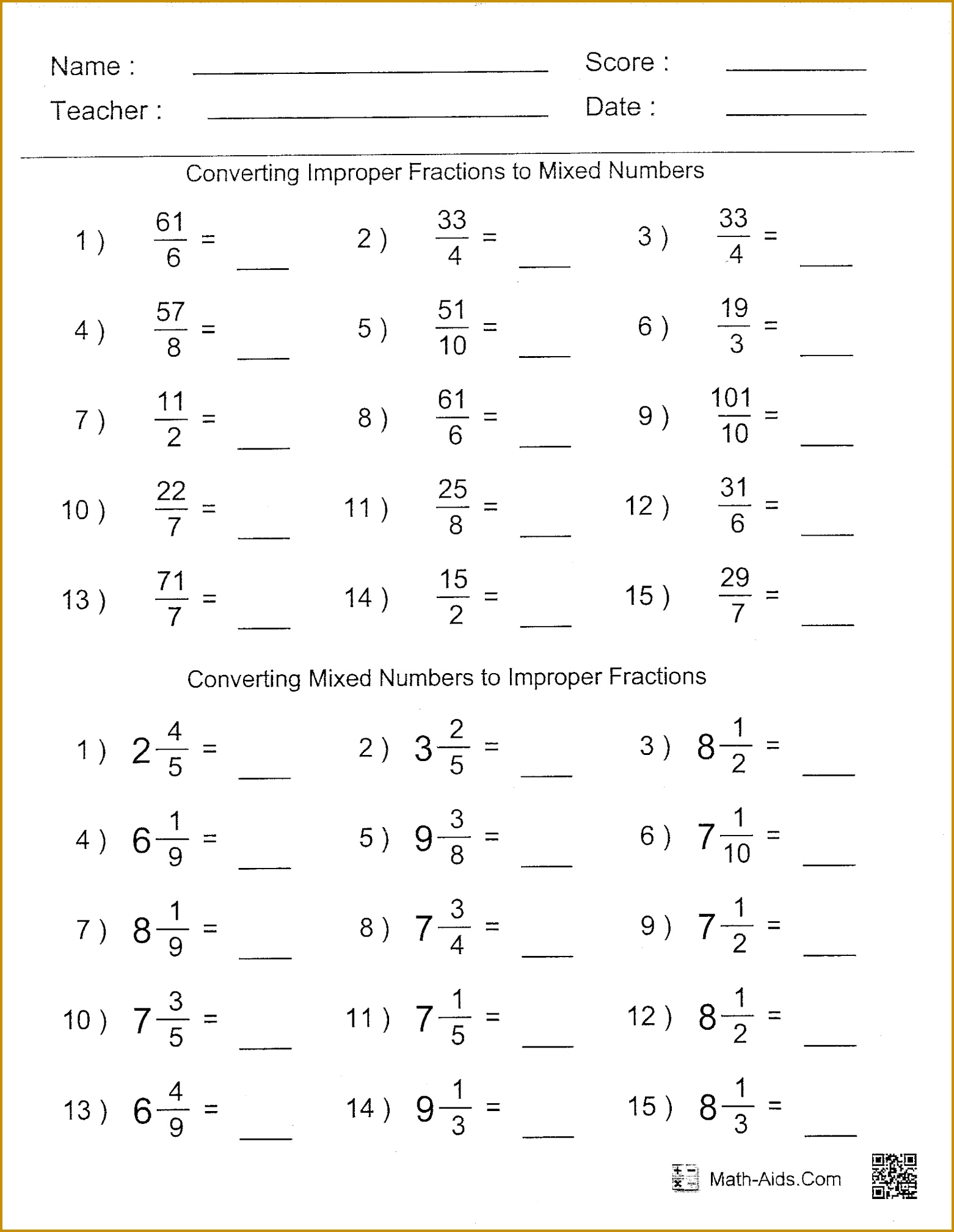 6 Comparing Decimals Worksheet