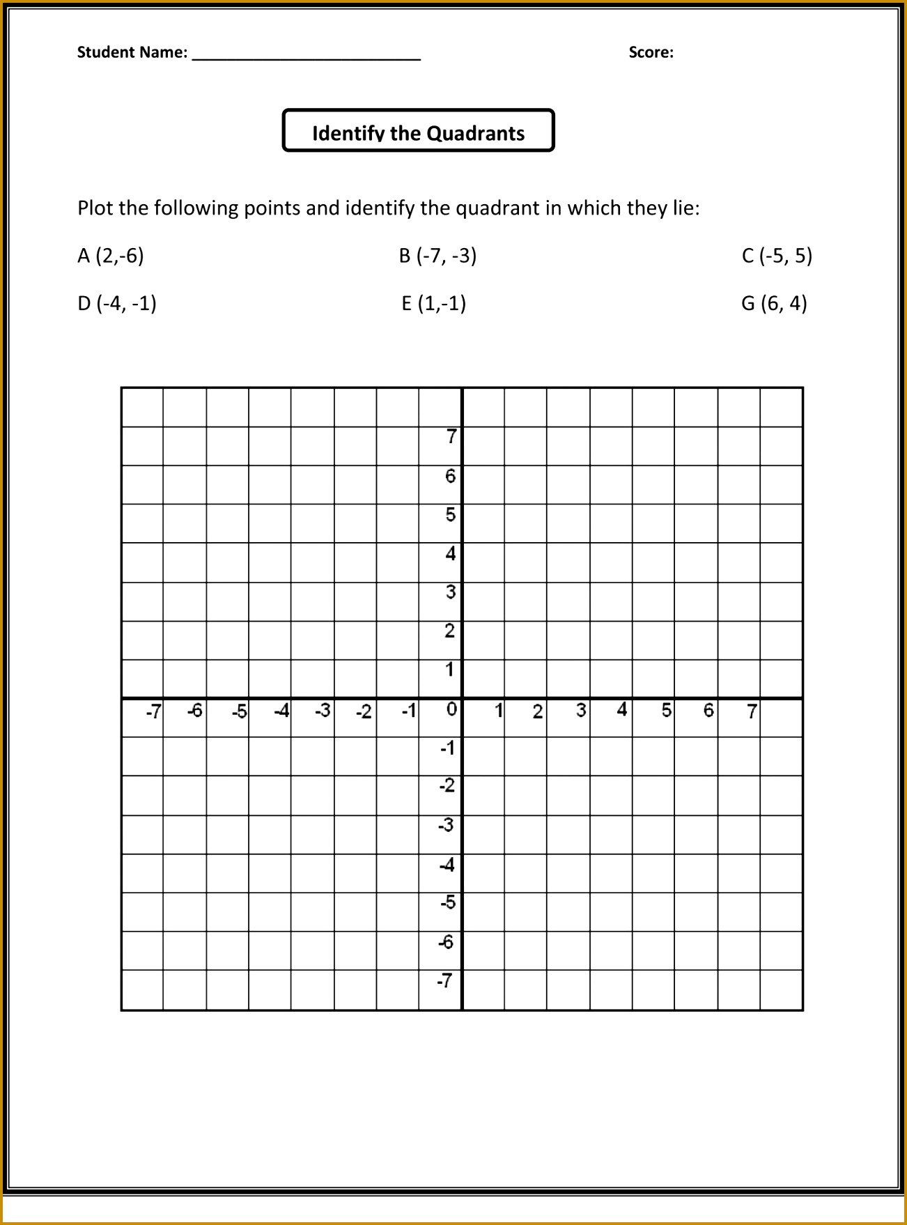 5 Coordinate Plane Worksheets