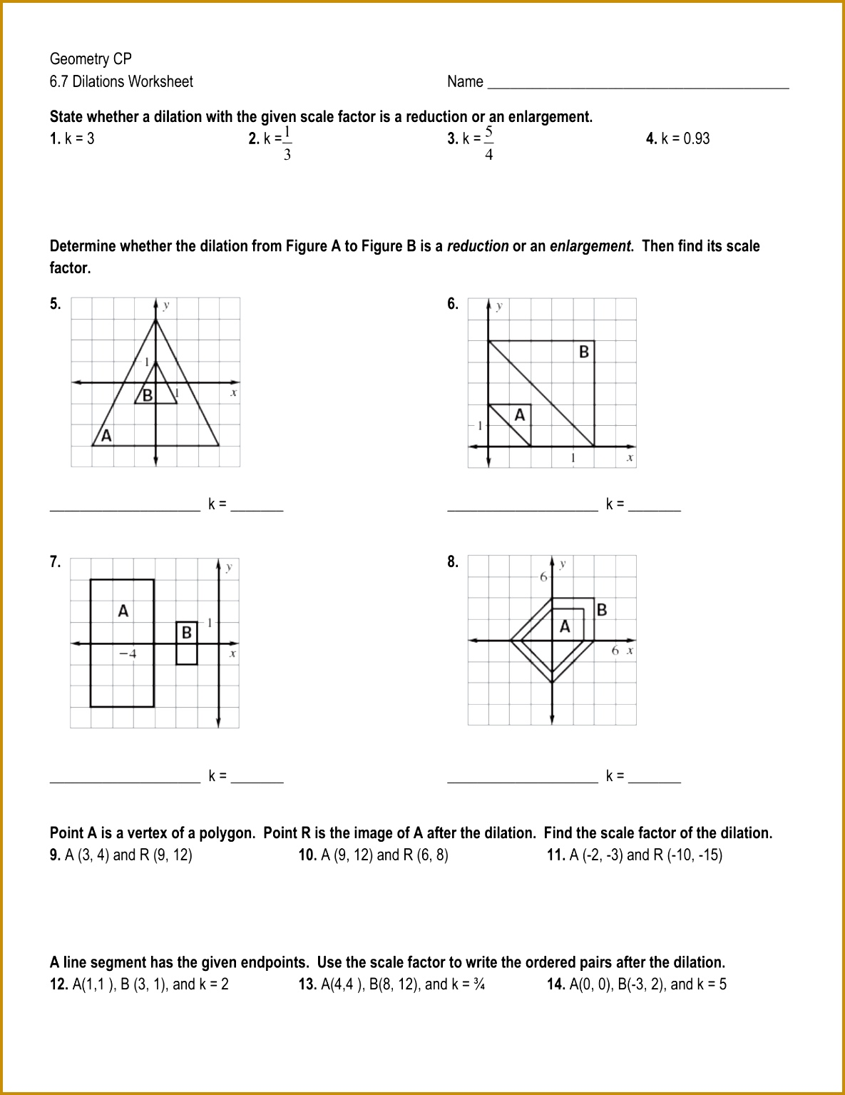 7 Dilations Worksheet Kuta