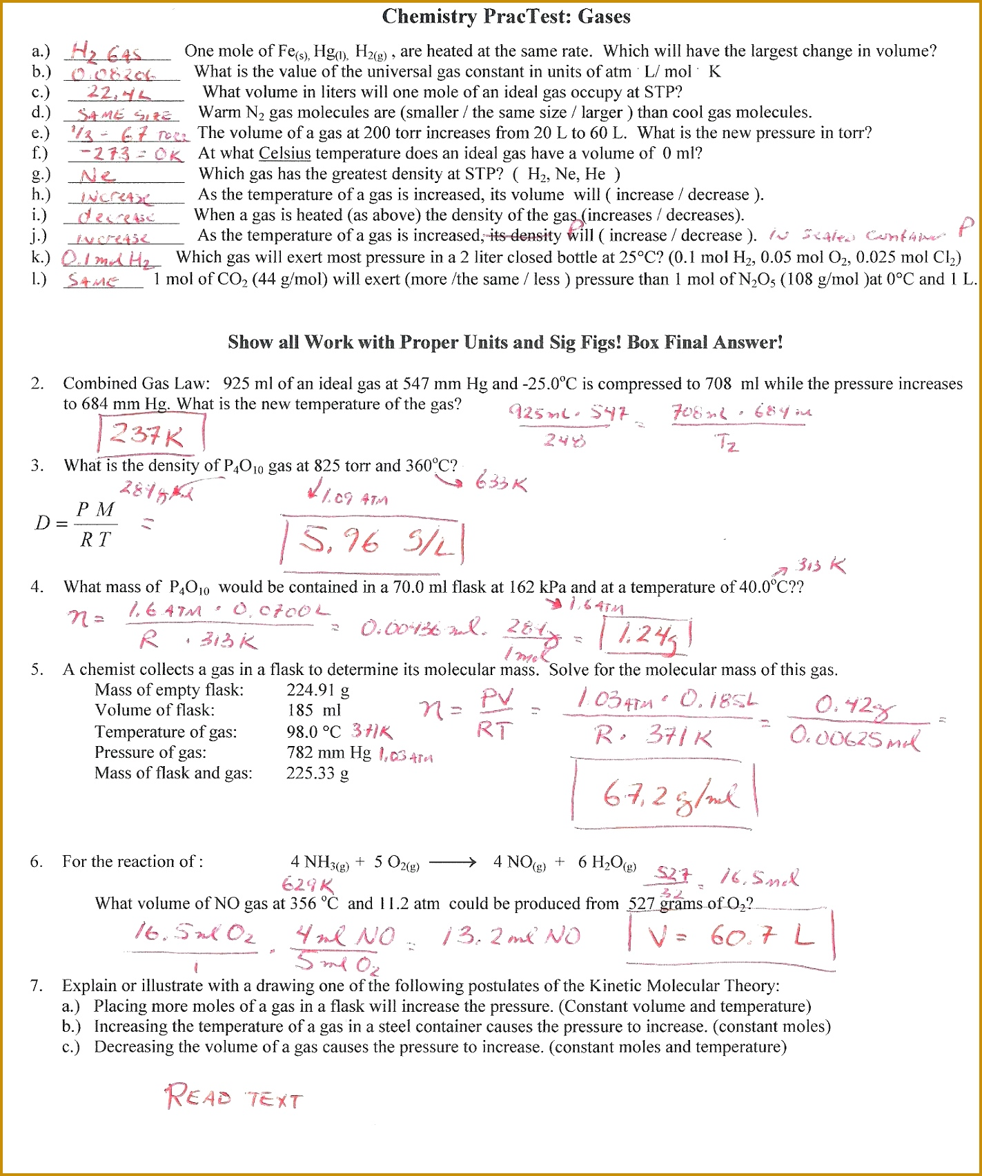 4 Ideal Gas Law Worksheet