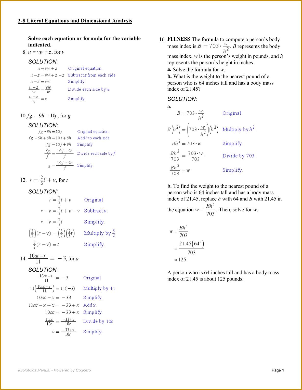 5 Literal Equations Worksheet
