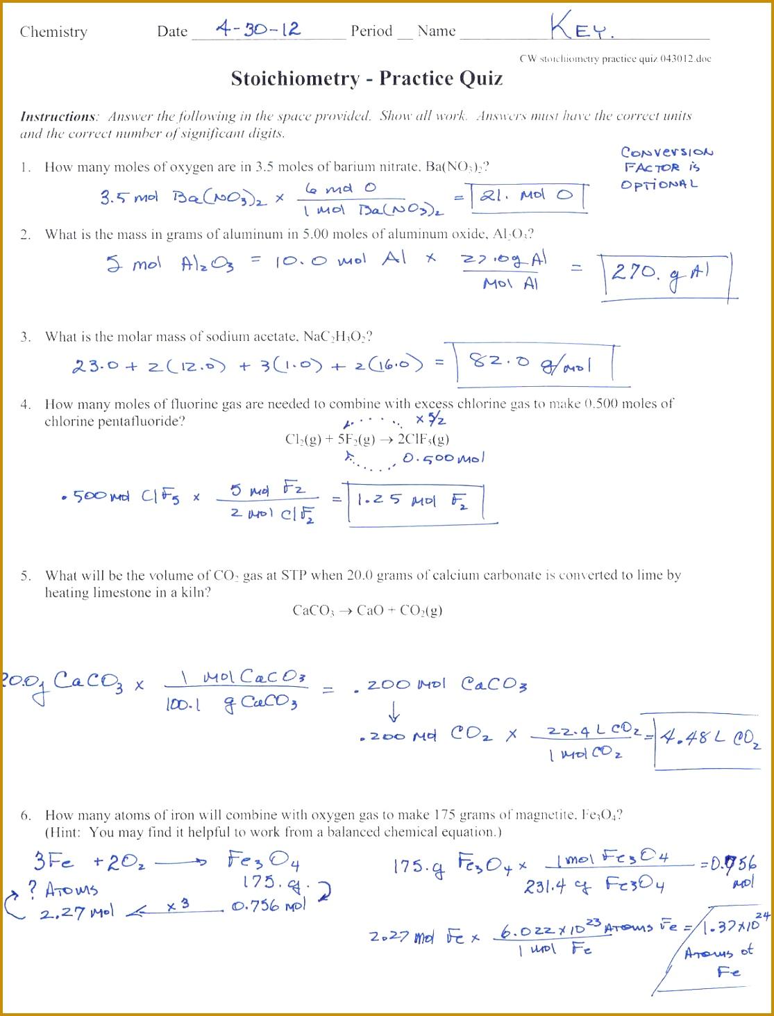 3 Mole Ratio Worksheet