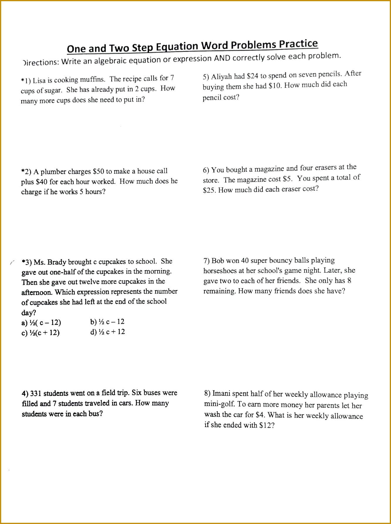 6 One Step Equations Worksheet