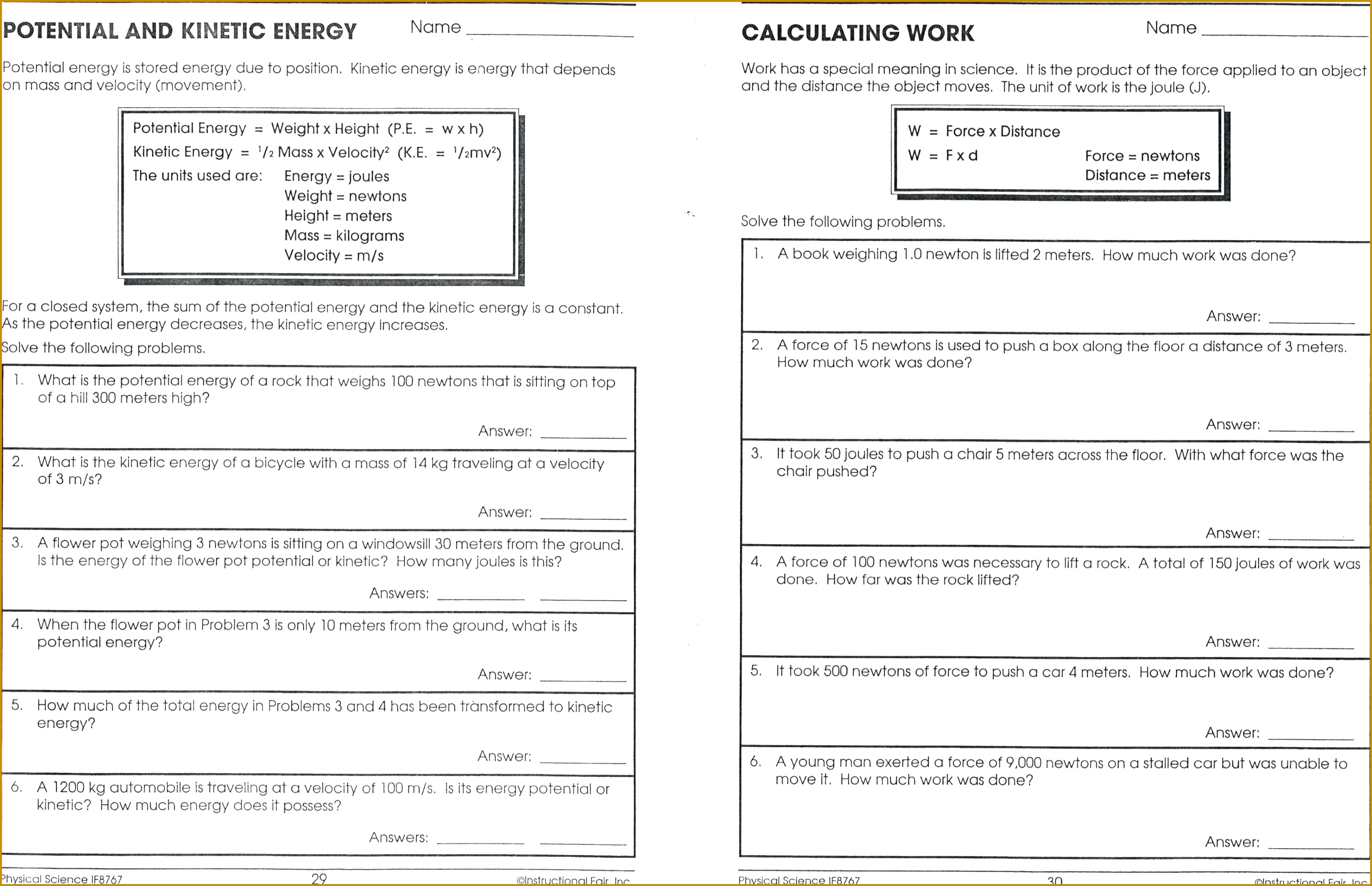 6 Potential And Kinetic Energy Worksheet