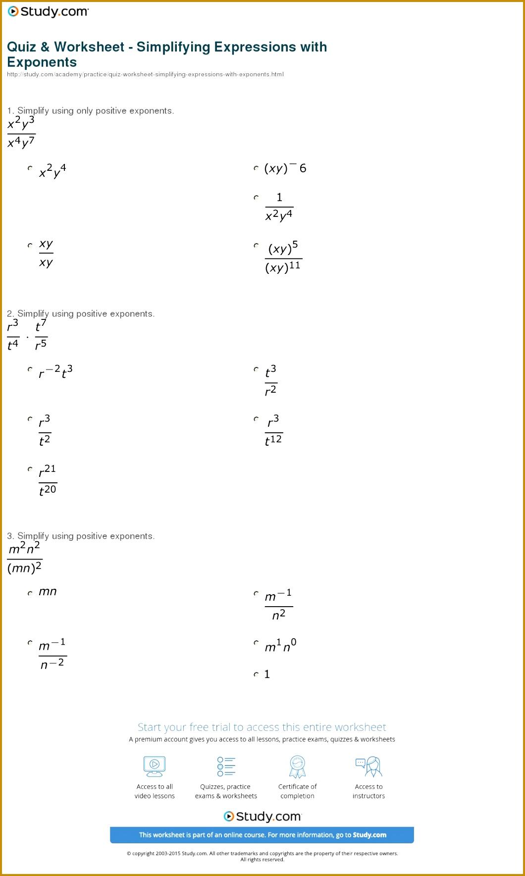 7 Properties Of Exponents Worksheet