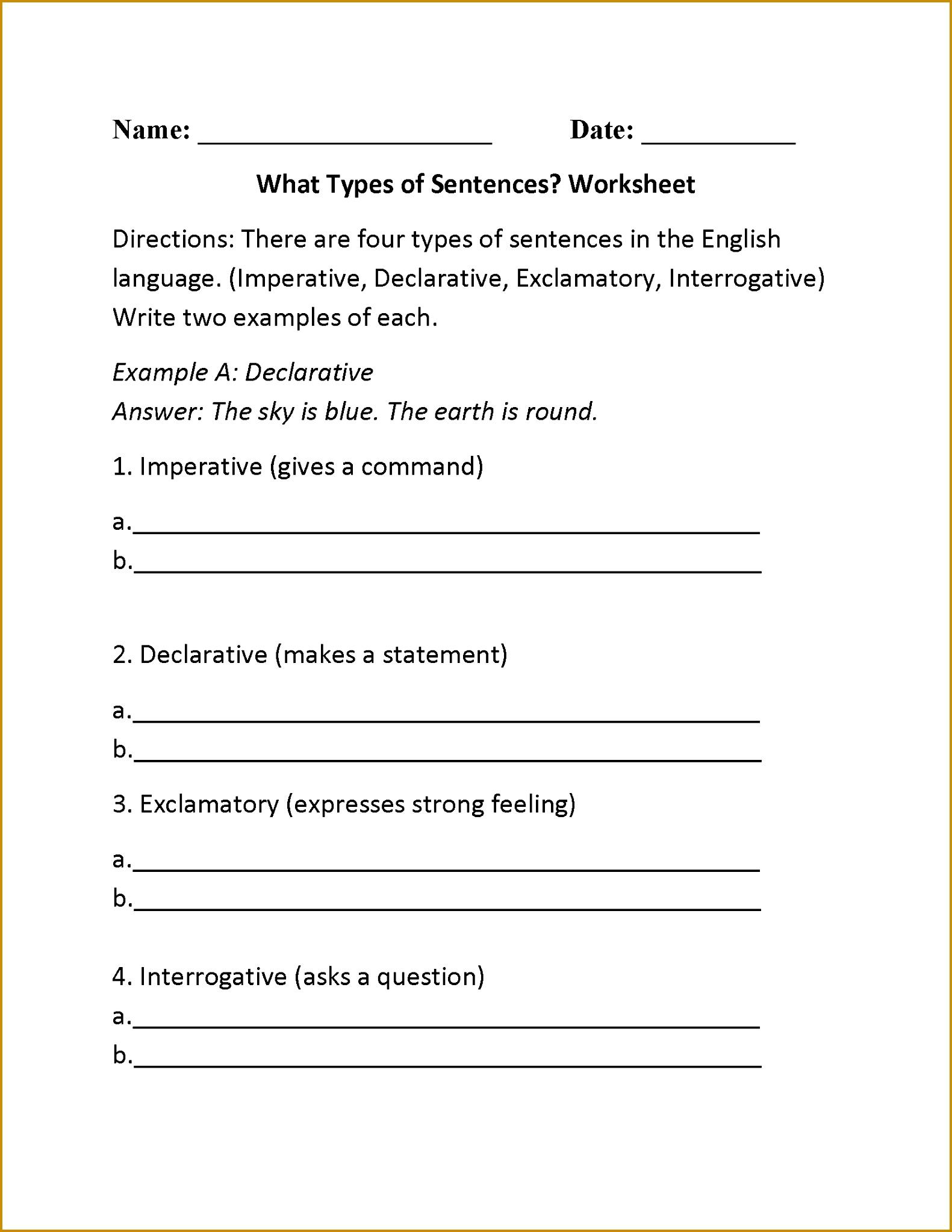 4 Run On Sentence Worksheet
