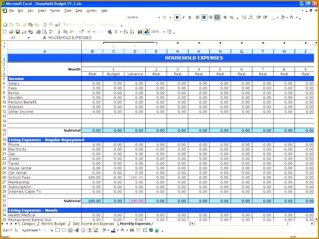6 Sample Budget Worksheet