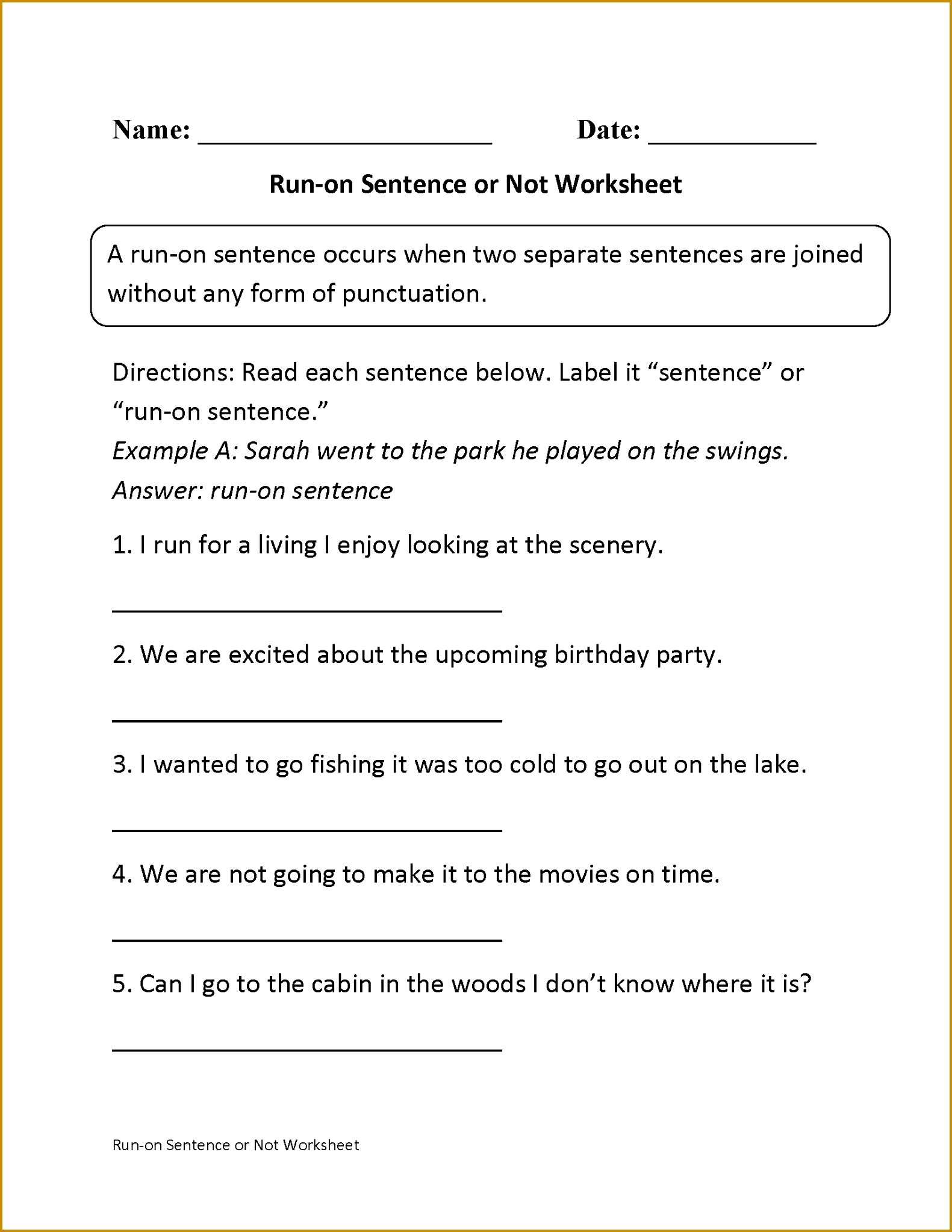 3 Simple And Compound Sentences Worksheet