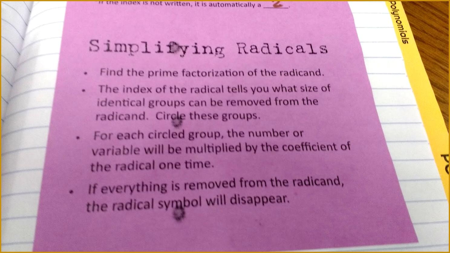 6 Simplifying Radical Expressions Worksheet