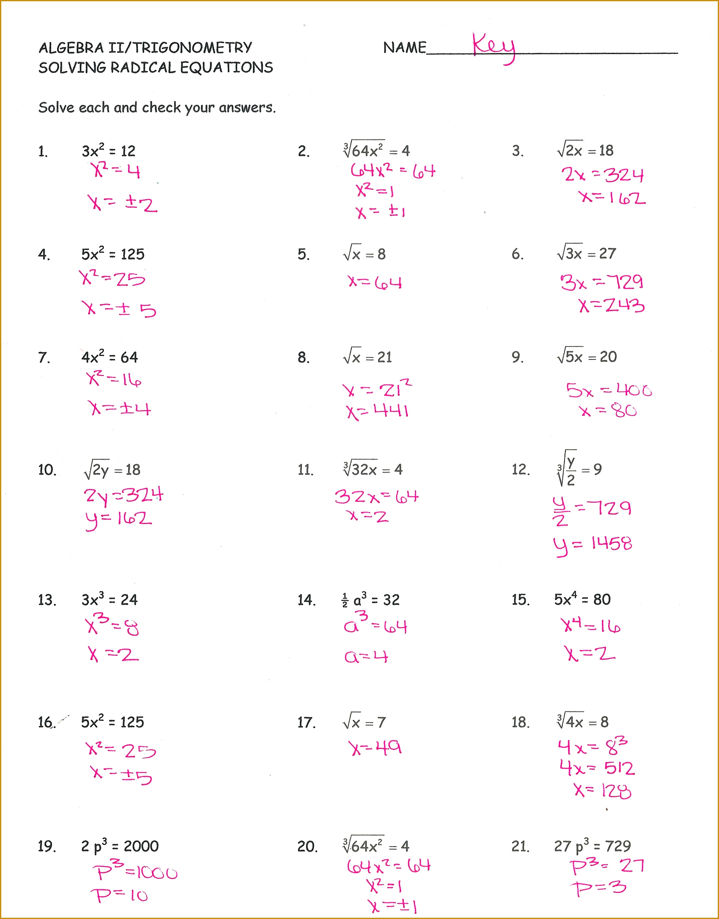 5 Simplifying Radical Expressions Worksheet Answers