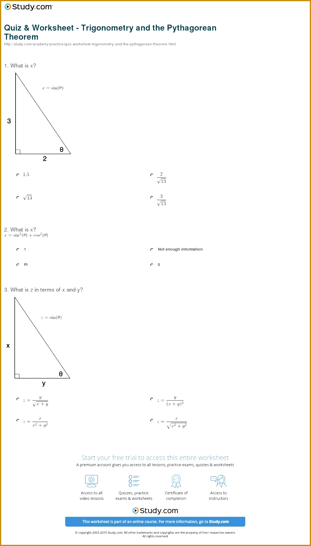 Worksheet Ratios Sohcahtoa