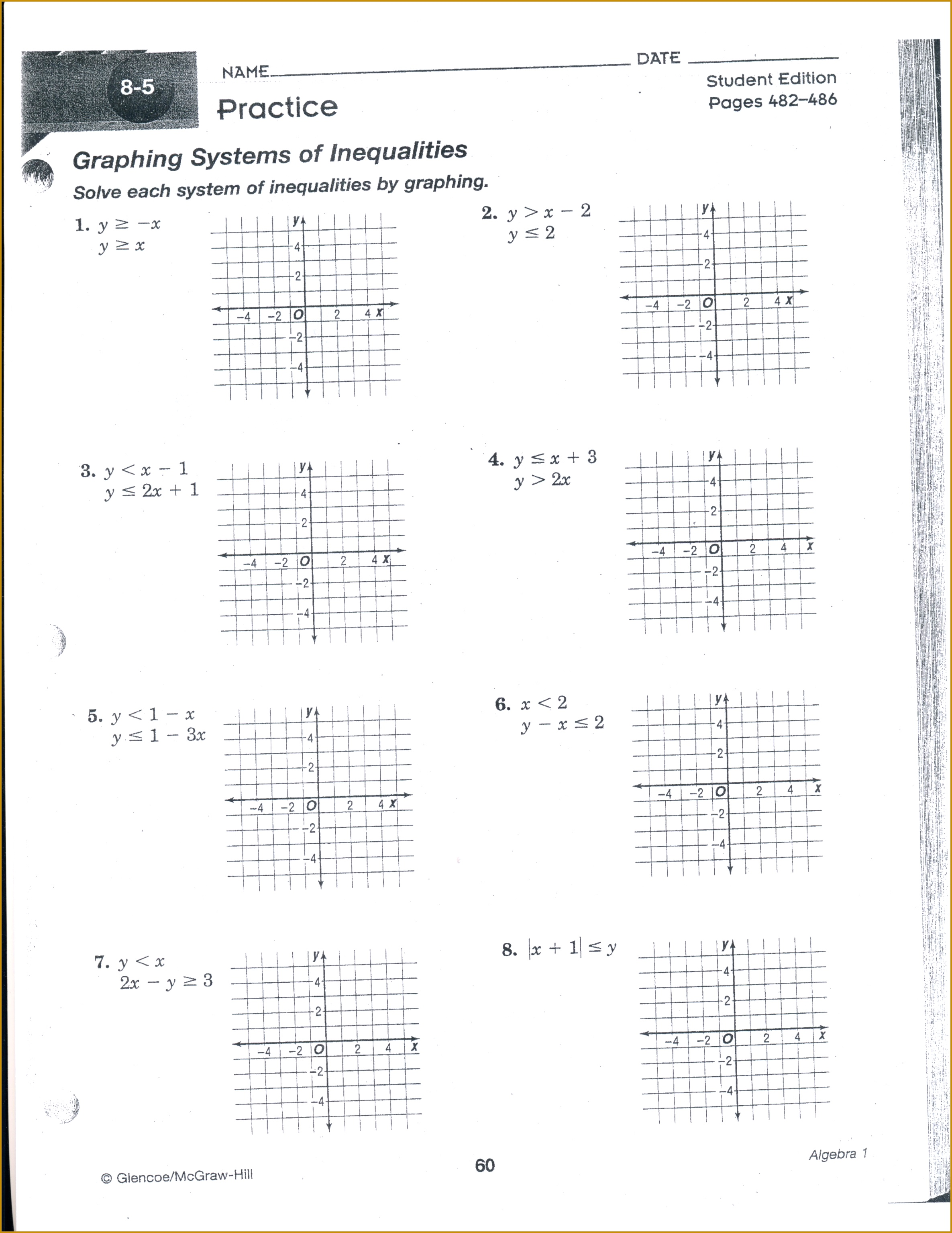 Systems Of Linear And Quadratic Equations Worksheet Doc