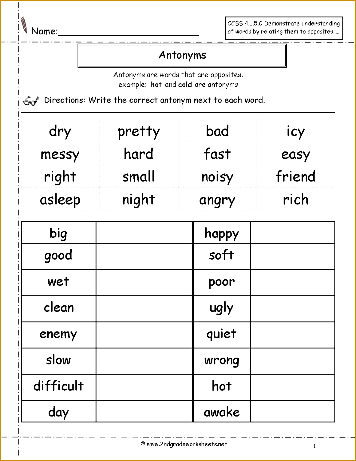 7 Synonyms And Antonyms Worksheets