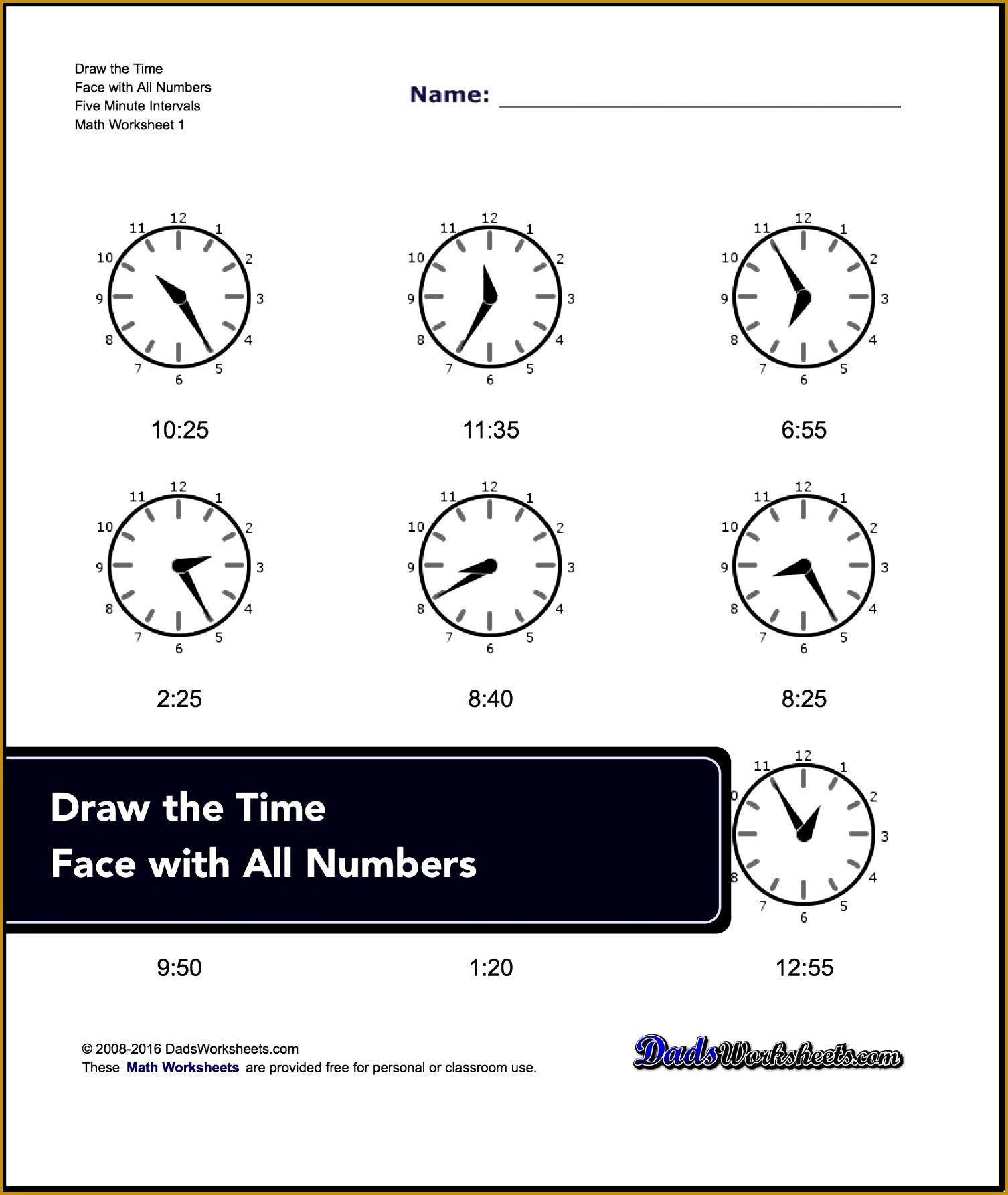 Worksheet Maker Clocks