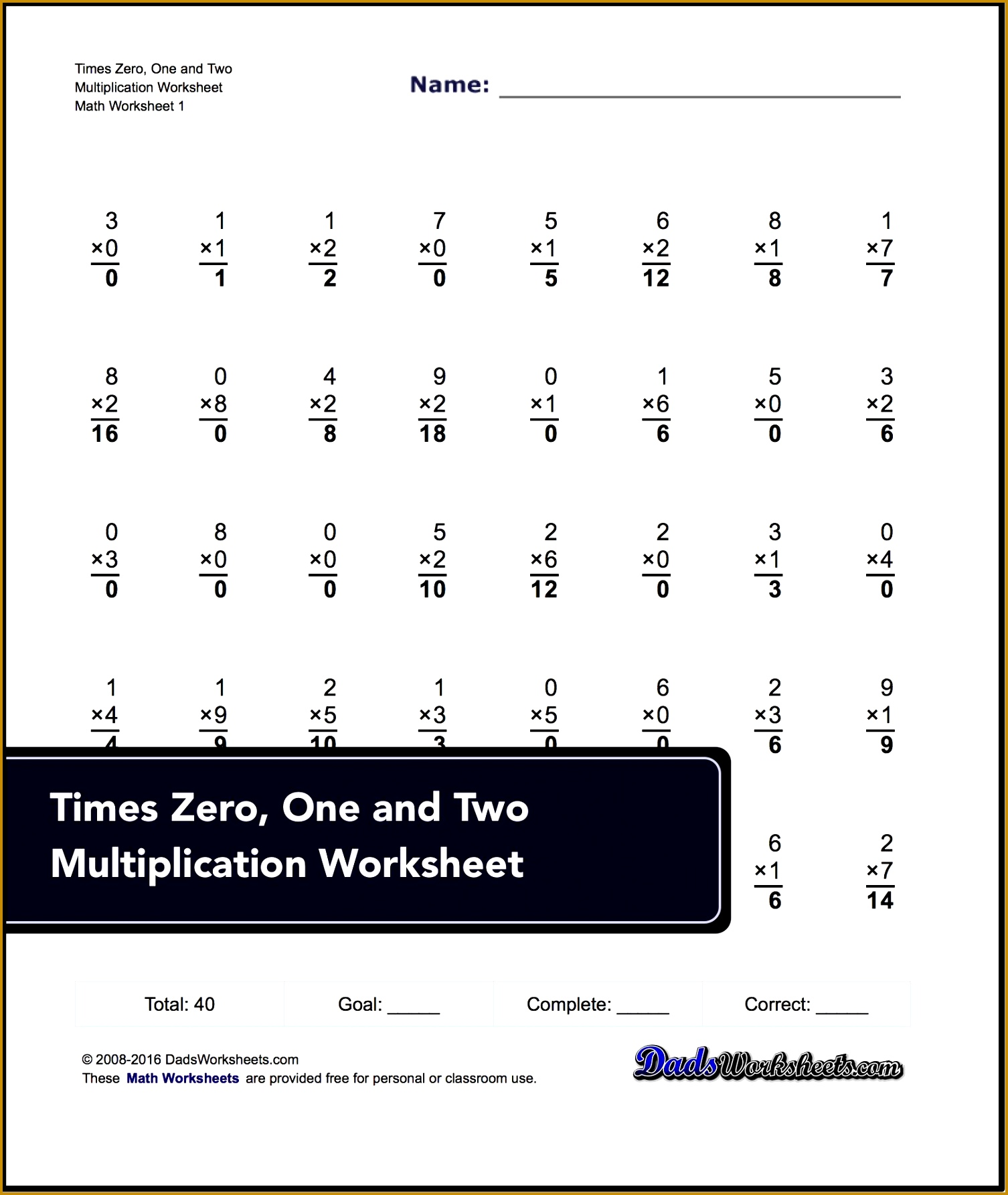 3 Timed Multiplication Worksheets