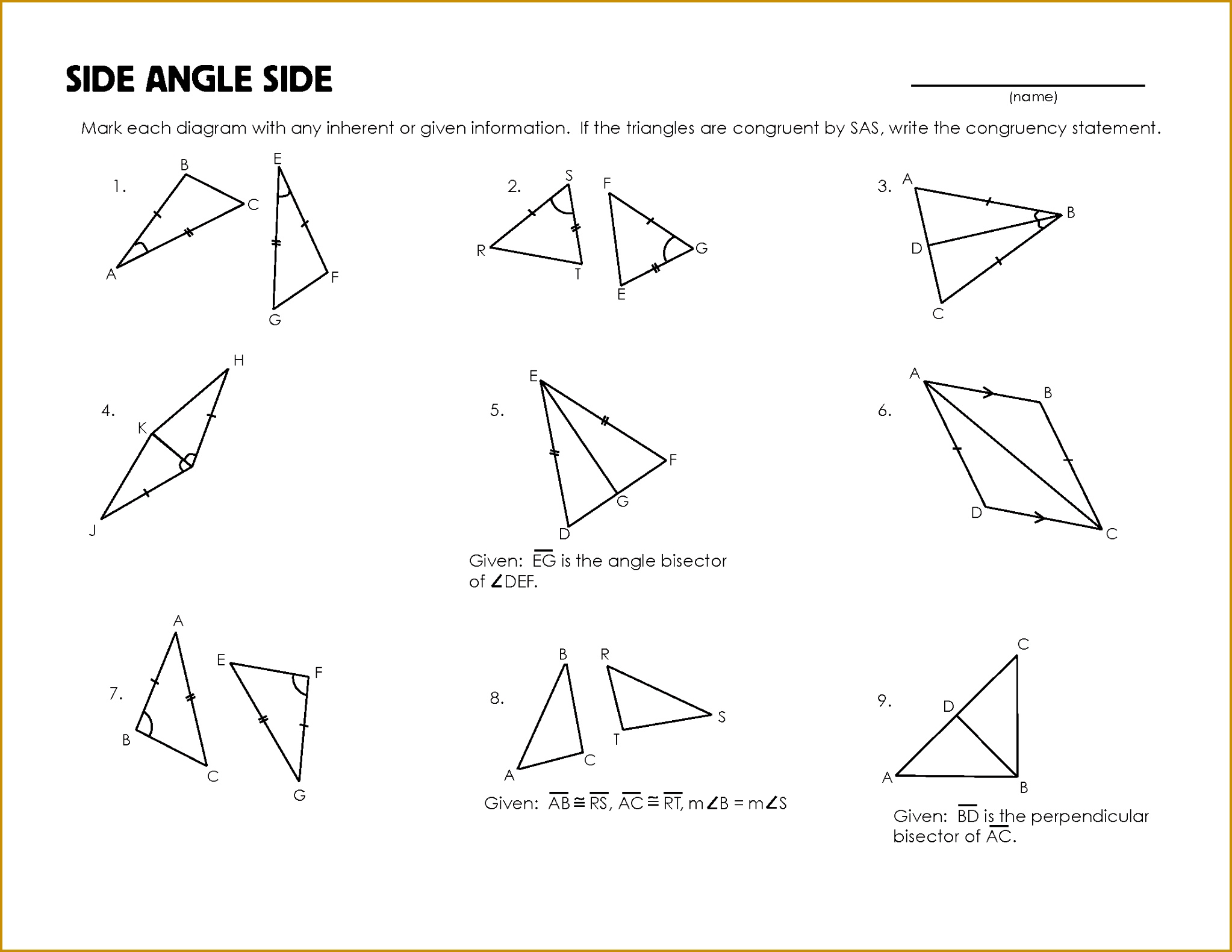 3 Triangle Congruence Worksheet