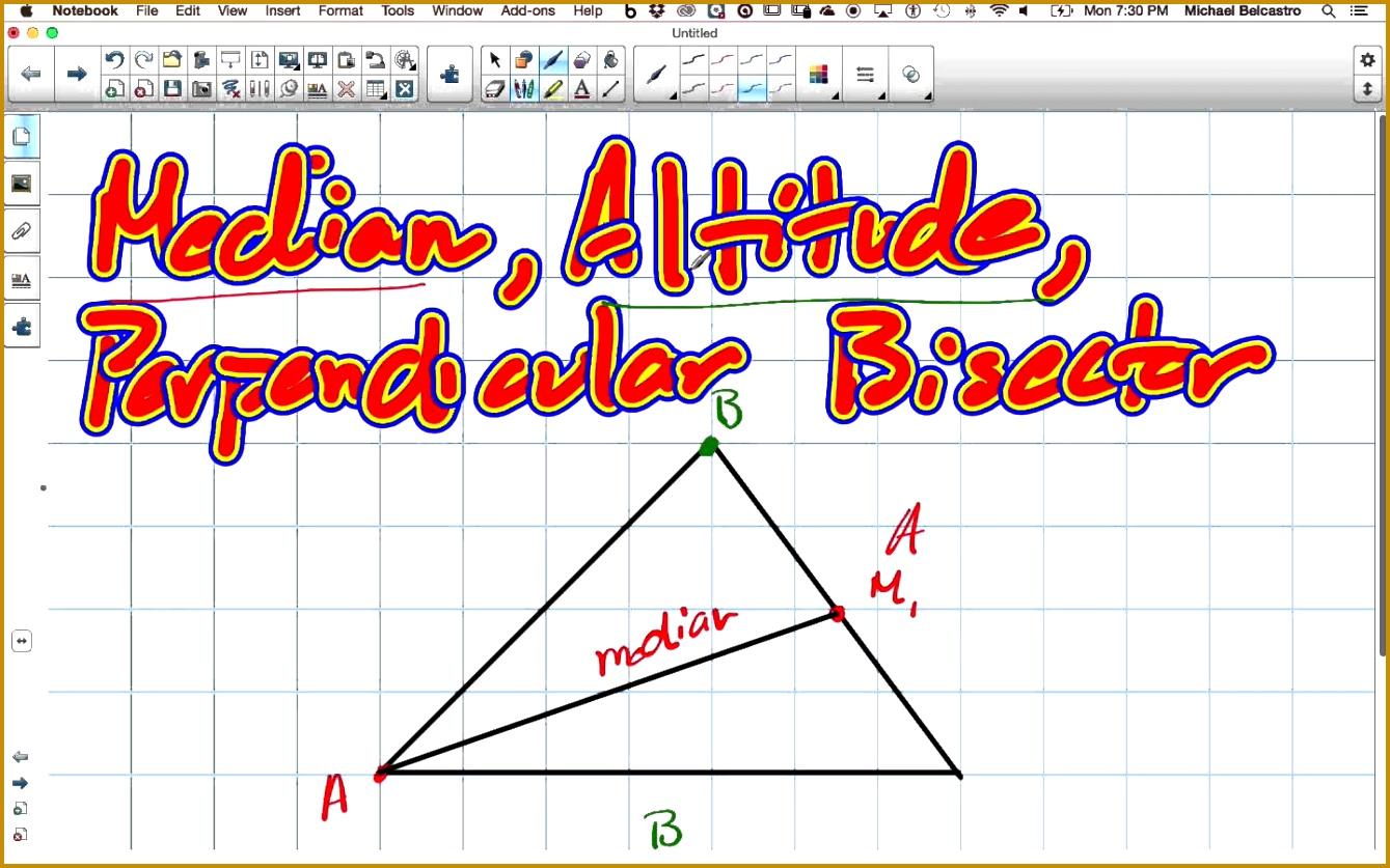 Worksheet Altitude Median Angle Bisector Perpendicular Bisector Gebhard Curt G S