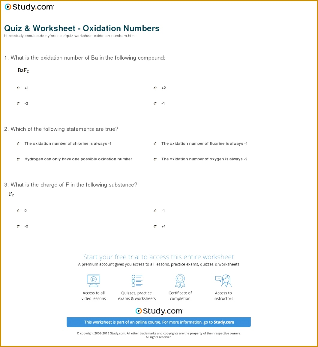 3 Worksheet Oxidation Numbers Answers