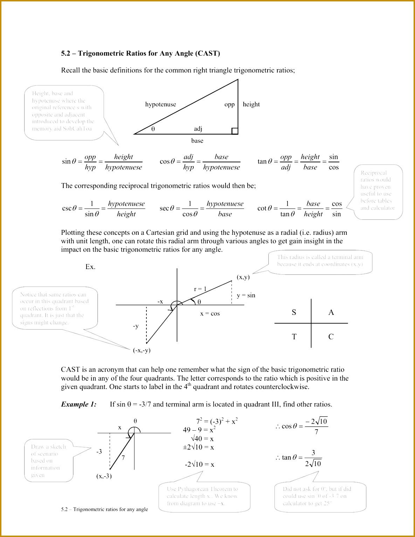Trig Ratios Worksheet Math 4