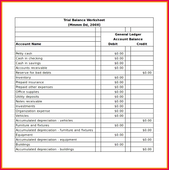 Balance Sheet Account Checking Template