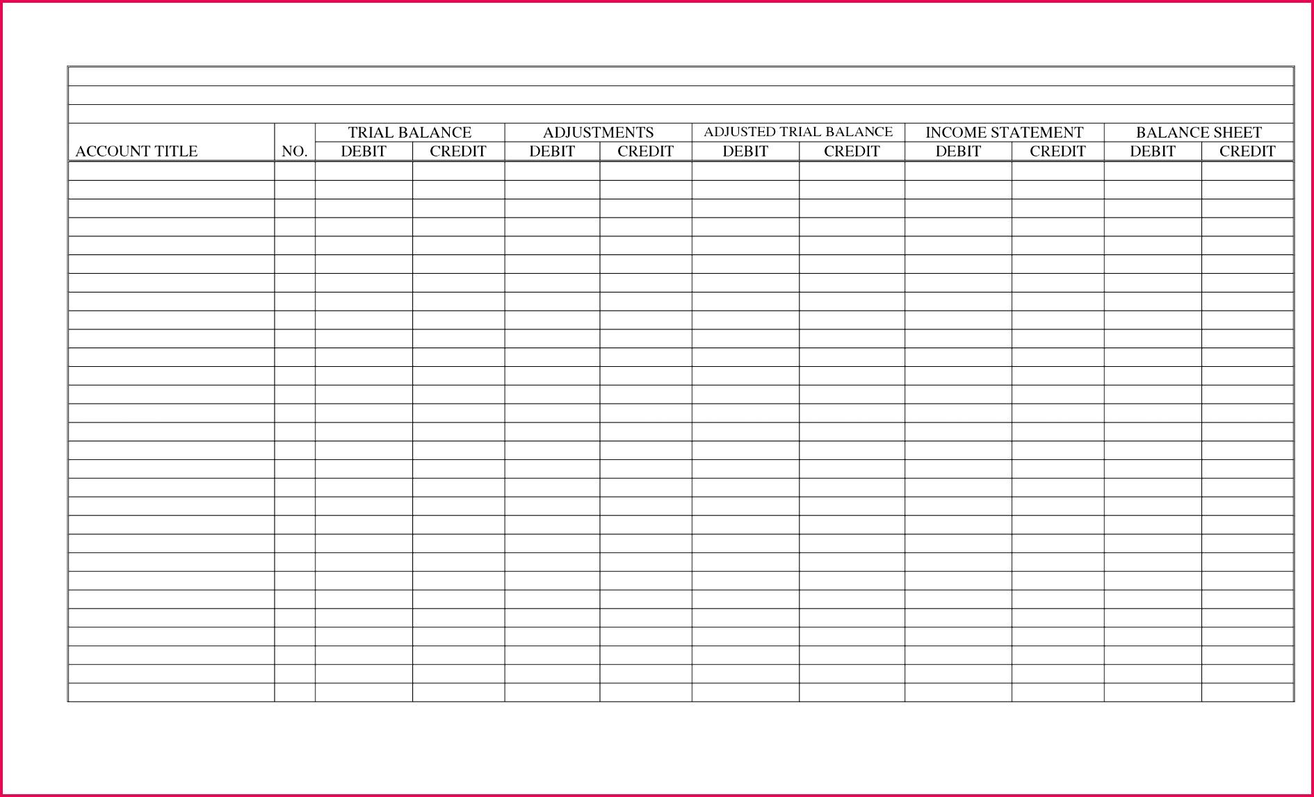 6 10 Column Worksheet Excel Template