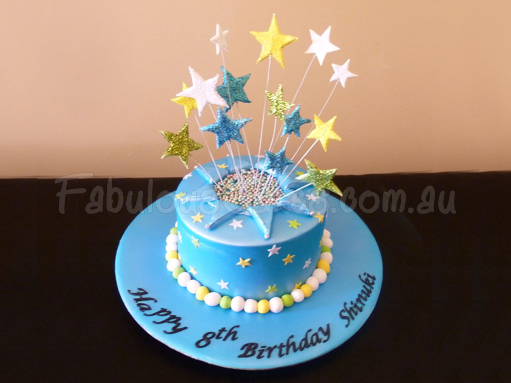 Blue Birthday Cake With Stars Fabulous Cakes