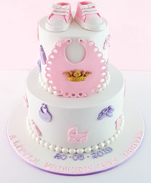 Baby Shower Cake with Pink Converse Shoes