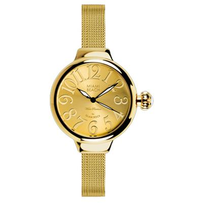 Buy Miami Beach Round Gold Face and Mesh Strap