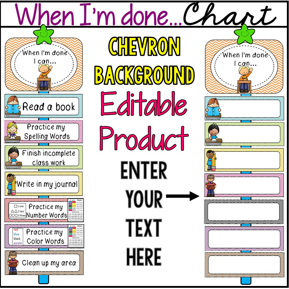 When Im Done I Can Classroom Management Resource Fabulous Figs