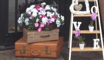 Vintage suitcases available for hire from Fabulous Functions UK