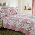 French Country Cottage Quilted Bedspread Comforter Set Floral Patchwork Rose Pink