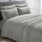 Silver Grey Quilted Rose Floral Embossed Bedding Set Duvet Cover And Pillowcases
