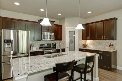 Classic Kitchen Room Interior With Large Kitchen Island