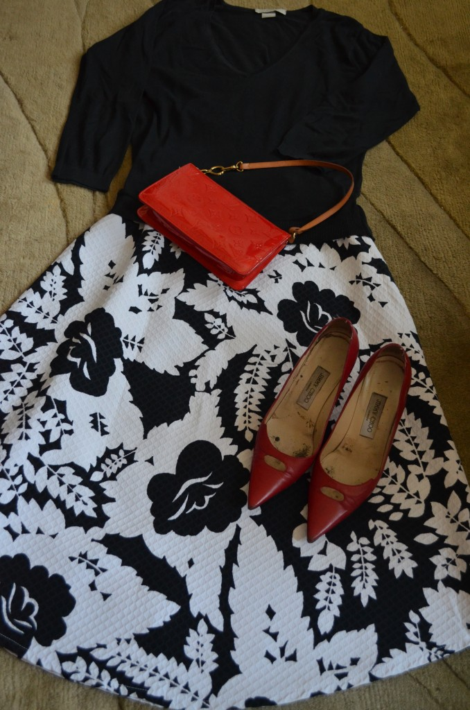 Joseph sweater, Jimmy Choo shoes and Louis Vuitton bag