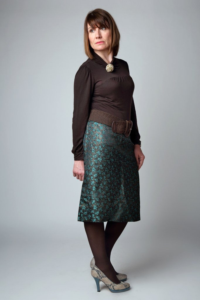 50's brocade skirt with DVF top and boots.