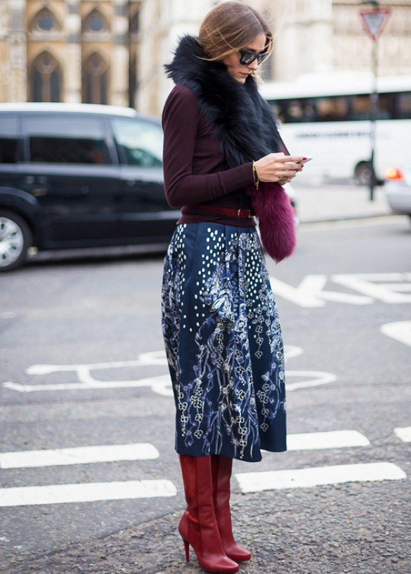 Lots of layers and boot with summer skirts.