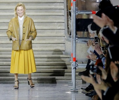 Another fashion insider - Miuccia Prada with bold colours and neutrals.