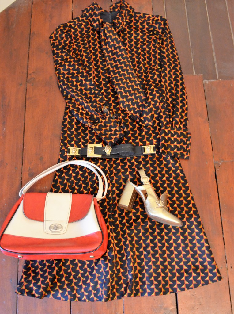This print is almost exactly the same as Gucci A/W - dress from Sue Ryder Vintage, shoes Top Shop, belt Ebay and vintage bag Retreat Vintage.