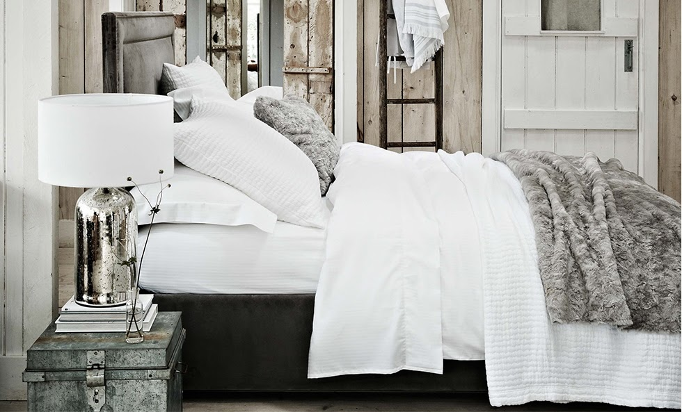Pure white bed linen lends it's self to lots of options for dressing the bed.