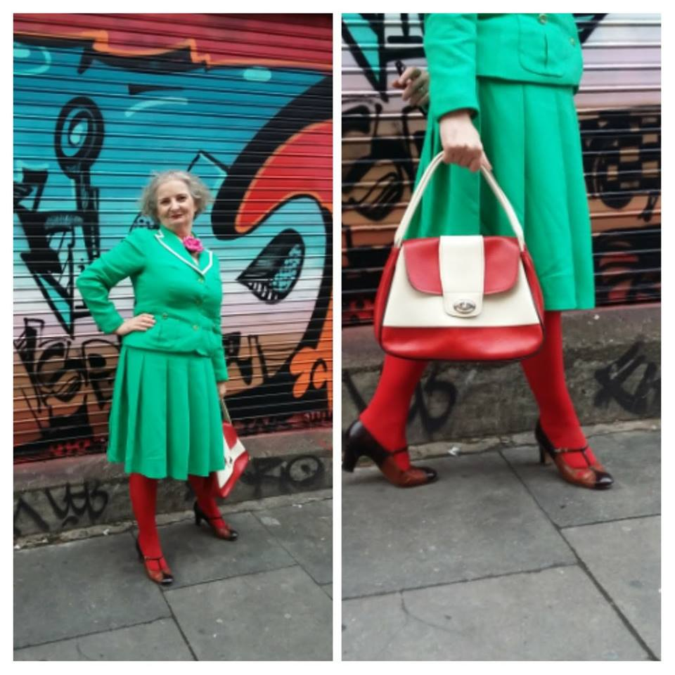 My outfit for the day - vintage Louis Ferrera suit, and bag from Retreat Vintage - created quite a few looks as we were walking around!!