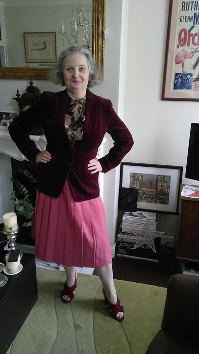 70's velvet blazer a charity shop, blouse from DVF at Harvey Nichols, skirt 80's Debenhams via Ebay, shoes New Look.