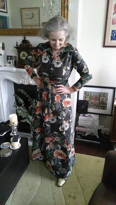 70's floral print metallic maxi dress from Attik and Seller.