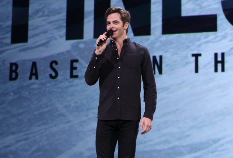 "ANAHEIM, CA - AUGUST 15: Actor Chris Pine of THE FINEST HOURS took part today in ""Worlds, Galaxies, and Universes: Live Action at The Walt Disney Studios"" presentation at Disney's D23 EXPO 2015 in Anaheim, Calif. THE FINEST HOURS will be released in U.S. theaters on January 29, 2016. (Photo by Jesse Grant/Getty Images for Disney) *** Local Caption *** Chris Pine"