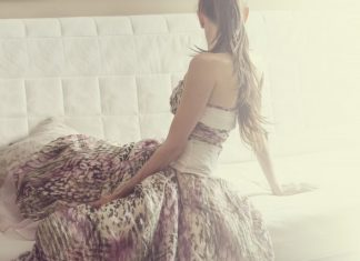 woman with pink prom dress