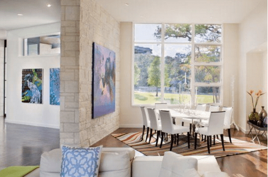 Colorful Effects For a White Dining Room