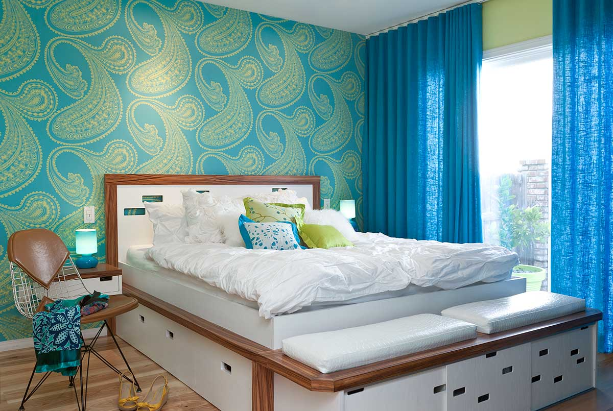 Lime Green And Blue Modern Bedroom Decorating Ideas