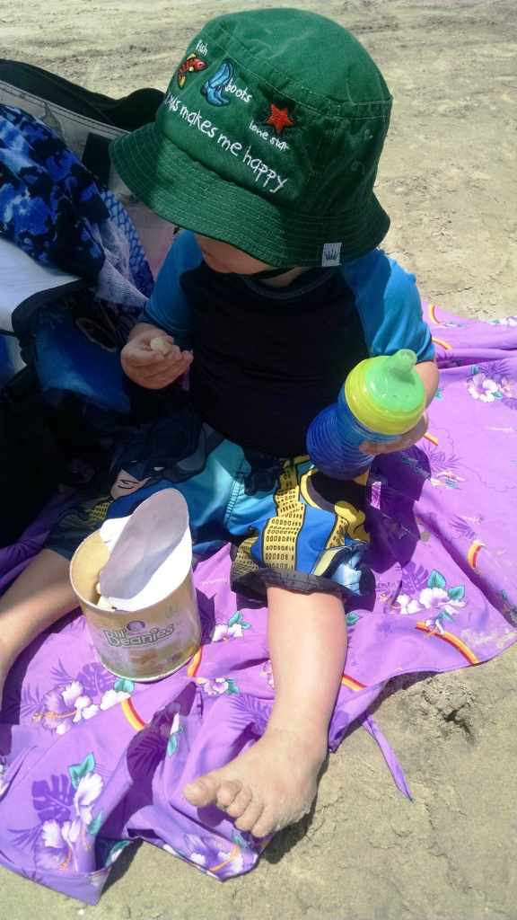 Beach with Toddler snack time