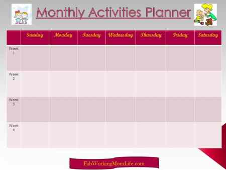 Monthly Activities Planner